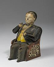 TAMMANY PAINTED CAST-IRON MECHANICAL BANK, J. & E. STEVENS CO., CROMWELL, CONNECTICUT, PATENTED 1873.