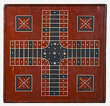 AMERICAN RED, WHITE AND BLUE PAINTED PARCHEESI AND CHECKER GAMEBOARD.