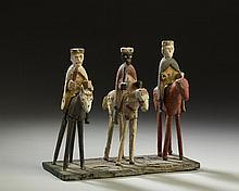 FOLK ART CARVED AND PAINTED FIGURAL GROUP OF THE THREE MAGI.