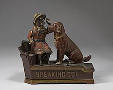 SPEAKING DOG PAINTED CAST-IRON MECHANICAL BANK, SHEPARD HARDWARE CO., BUFFALO, NEW YORK, PATENTED 1885.