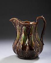 RARE BENNINGTON FLINT-ENAMEL 'DIAMOND' PATTERN PITCHER, 1849-58.