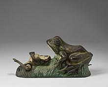 TWO FROGS PAINTED CAST-IRON MECHANICAL BANK, J. & E. STEVENS CO., CROMWELL, CONNECTICUT, PATENTED 1882.