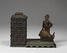 ARTILLERY BANK PAINTED CAST-IRON MECHANICAL BANK, J. & E. STEVENS CO., CROMWELL, CONNECTICUT, 1900-32.