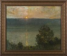 BAYARD H. TYLER (AMERICAN 1855-1931). THE HUDSON RIVER AND THE PALISADES AT SUNSET.