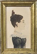 RUFUS PORTER (1792-1884). MINIATURE PROFILE PORTRAIT OF A YOUNG WOMAN WEARING A DRESS TRIMMED WITH LACE COLLAR, HER HAIR IN A TORTOISESHELL COMB.