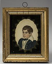 MINIATURE PORTRAIT OF A YOUNG BOY IN BLUE COAT. ATTRIBUTED TO RUFUS PORTER (1792-1884).