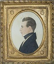 RUFUS PORTER (1792-1884). MINIATURE PROFILE PORTRAIT OF A MAN WEARING A BLACK CRAVAT AND WAISTCOAT.