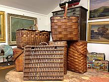 MAINE STATE NATIVE AMERICAN WOVEN SPLINT PICNIC BASKET.