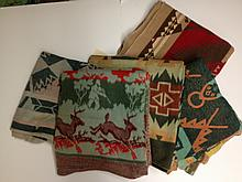 FIVE INDIAN DESIGN COTTON BLANKETS.