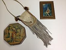 HIAWATHA'S WEDDING BISCUIT TIN, FRINGED LEATHER AND DEERSKIN PURSE AND A FRAMED PRINT OF AN INDIAN MAIDEN AT A WATERFALL.
