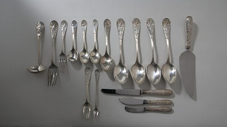TIFFANY & CO. SILVER 'AUDUBON' (JAPANESE) PATTERN FLATWARE SERVICE, DESIGNED BY EDWARD C. MOORE, INTRODUCED IN 1871.