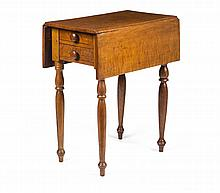 NEW ENGLAND SHERATON FIGURED MAPLE DROP-LEAF STAND WITH FOUR DRAWERS, POSSIBLY VERMONT.