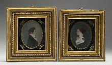 PAIR OF MINIATURE REVERSE PAINTINGS ON GLASS OF LAURENTIA BRIGGS AND A YOUNG MAN, PRESUMABLY HER HUSBAND, HORACE COLLAMORE, OF PEMBROKE, MASSACHUSETTS, CIRCA 1815.