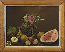 AMERICAN STILL-LIFE WITH FRUIT, FLOWERS IN A VASE AND GLASS OF WINE.