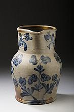 ALEXANDRIA, VIRGINIA SALTGLAZE STONEWARE COBALT BLUE-DECORATED BATTER JUG, POSSIBLY BENEDICT CALVERT MILLBURN, 1845-60.