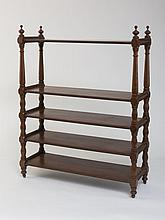 REGENCY MAHOGANY FIVE-TIER BOOKCASE OR TROLLEY.