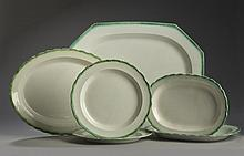 SIX STAFFORDSHIRE PEARLWARE GREEN SHELL-EDGE WARES, 1810-35.