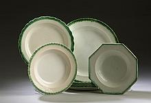 SET OF FIVE STAFFORDSHIRE PEARLWARE GREEN SHELL-EDGE PLATES, ENOCH WOOD & SONS, 1820-35.