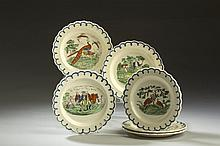 SET OF SIX ENGLISH CREAMWARE TRANSFER-PRINTED AND ENAMEL-DECORATED PLATES, 1780-1800.