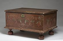 EARLY AMERICAN PAINTED AND FLORAL-DECORATED BIBLE BOX ON TURNED FEET.