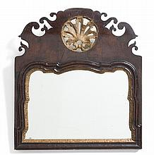 QUEEN ANNE MAHOGANY AND PARCEL-GILT MIRROR.