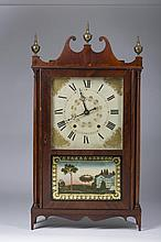 CONNECTICUT MAHOGANY AND EGLOMISE PILLAR AND SCROLL SHELF CLOCK, CHAUNCEY IVES, BRISTOL.