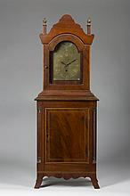 FEDERAL INLAID-MAHOGANY SHELF CLOCK, ELEAZER BAKER.
