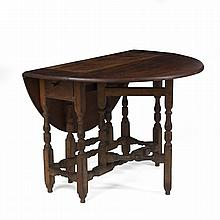 NEW YORK WILLIAM AND MARY CHERRY AND MAPLE GATE-LEG DROP-LEAF TABLE, PROBABLY QUEENS COUNTY.