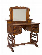 COLORADO FOLK ART CARVED DRESSING TABLE.