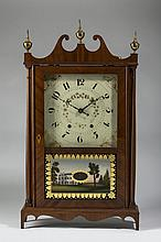 CONNECTICUT MAHOGANY PILLAR AND SCROLL SHELF CLOCK, WADSWORTHS & TURNERS, LITCHFIELD.