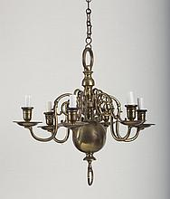 DUTCH BAROQUE STYLE BRASS SIX-LIGHT CHANDELIER.