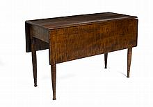 NEW ENGLAND COUNTRY SHERATON TIGER MAPLE DROP-LEAF TABLE.