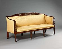 SALEM, MASSACHUSETTS FEDERAL CARVED MAHOGANY SOFA, SAMUEL MCINTIRE OR A FOLLOWER.