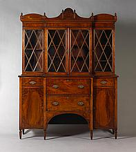 NEW ENGLAND FEDERAL INLAID MAHOGANY SECRETARY BOOKCASE, SALEM OR PORTSMOUTH.