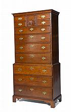 NEW ENGLAND CHIPPENDALE MAPLE CHEST-ON-CHEST.