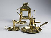 FIVE EARLY BRASS LIGHTING DEVICES, NINETEENTH CENTURY.