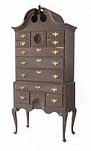 CONNECTICUT QUEEN ANNE MAPLE BONNET-TOP HIGHBOY.