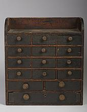 EARLY AMERICAN PRIMITIVE PAINTED SPICE CABINET.