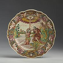 ENGLISH CREAMWARE DUTCH-DECORATED BIBLICAL SERIES PLATE, 1770-80.