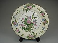 Chinese Famille Rose Porcelain plate, marked