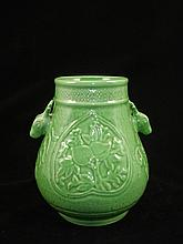 Chinese Green Glaze Porcelain Urn With Ram-Head Handles