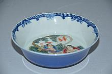 Fine Chinese procelain bowl, famille rose  painting interior & blue glazed exterior, marked