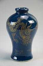 Fine Chinese Blue glazed vase with gilt decorated, marked