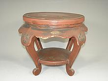 Vintage Cinnabar Lacquer Wood Stand/Stool with Flower