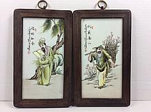 Pair of Chinese famille rose porcelain plaque, signed