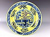 Importment  Chinese yellow ground,Blue & white,  underglazed red plate, marked
