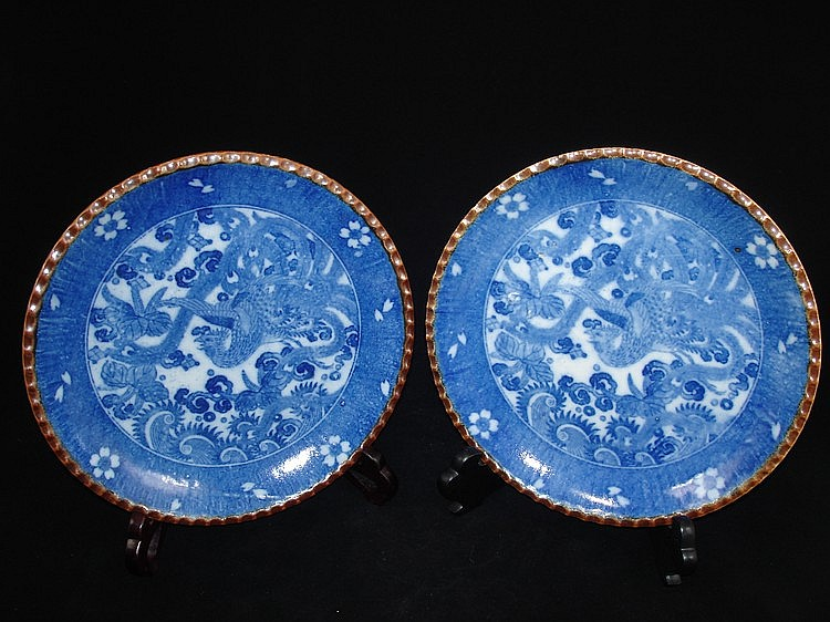 Pair Chinese blue & white porcelain plates with phoenix