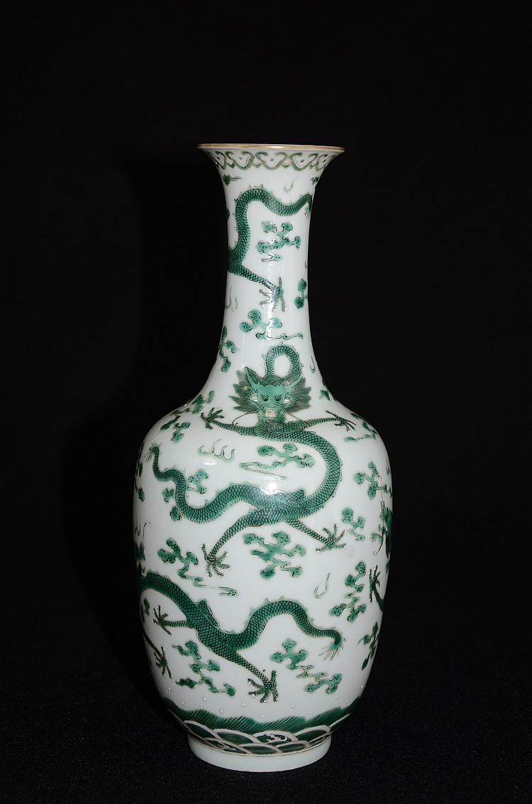 Chinese Porcelain Vase Decorated with Dragon & Waves on Sea
