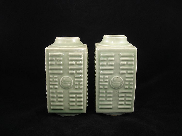 A pair of Chinese Celadon  Porcelain Vases of 'Cong' Form