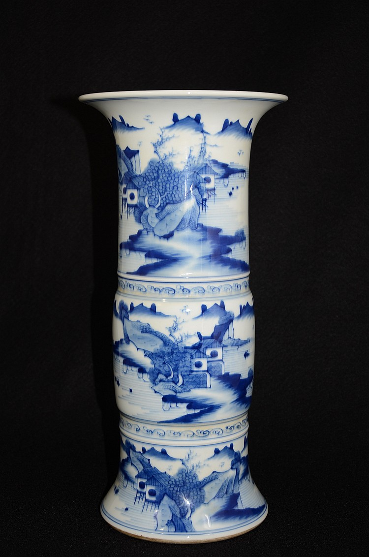 Chinese blue & white porcelain Gu form vase